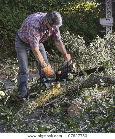 Man Cutting Tree Branches With Chainsaw