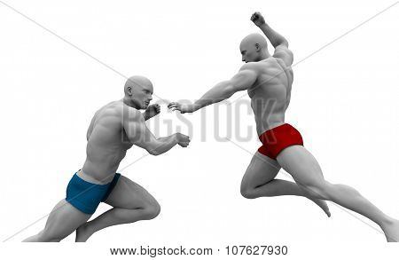 Martial Arts Combat with Two Fighting Men in a Gym