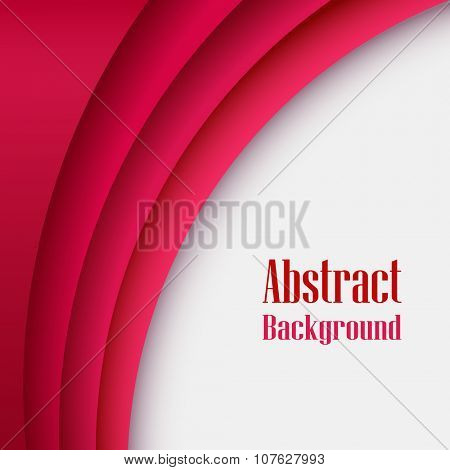 Abstract red layered curve vector background with copy space.