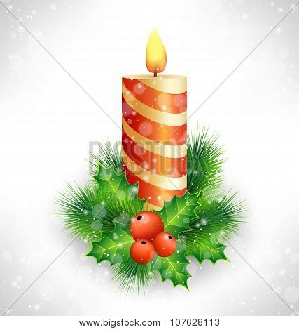 Christmas Candle With Holly And Pine On Grayscale