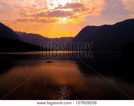 Twilight on mountain lake