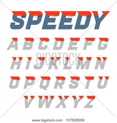 Speedy style, dynamic alphabet. Vector.