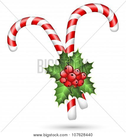 Two Candy Canes With Holly On White