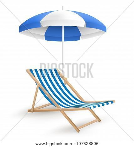 Sun Beach Umbrella With Beach Chair Isolated On White