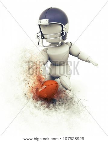 3D render of an American football player doing touchdown with explosion effect