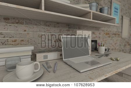3d render of a white interior desk and bookshelf