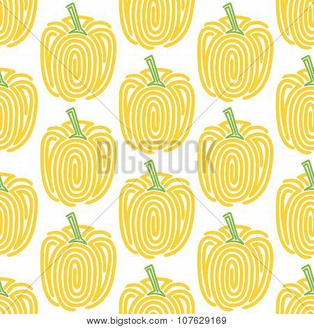 Bell pepper. Seamless pattern with spiral peppers. Vector vegetable illustration