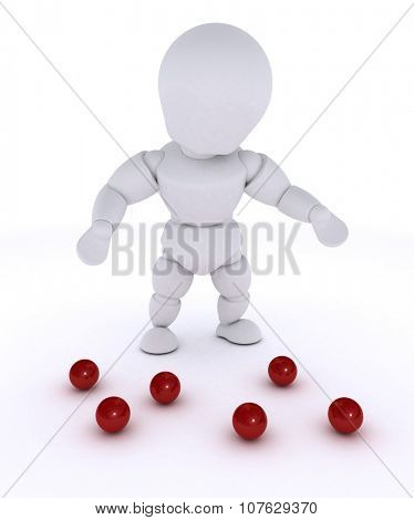 3D render of a man juggling with red balls-dropped