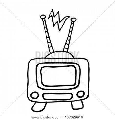 simple black and white retro tv cartoon