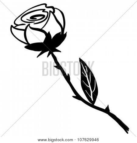 simple black and white rose cartoon