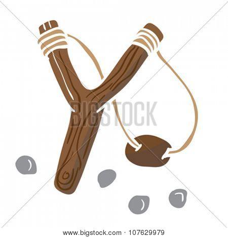 simple slingshot cartoon