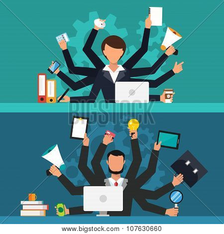 Office job stress work vector illustration