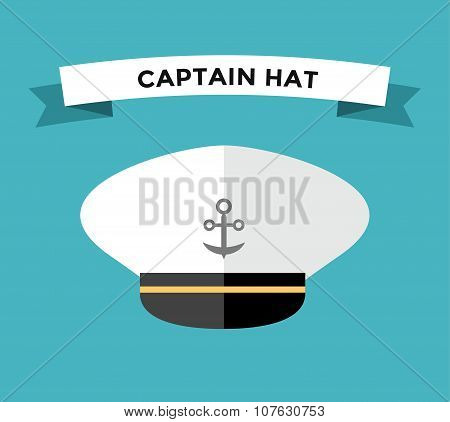 Captain hat with anchor flat vector icon