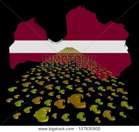 Latvia map flag with euros foreground illustration