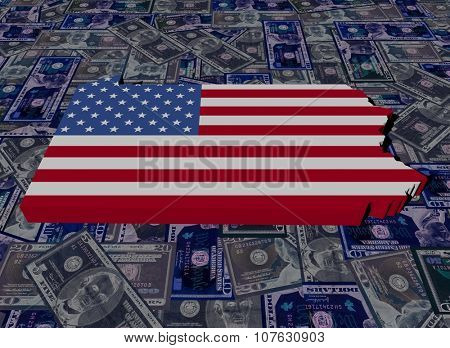 Pennsylvania map flag on dollars illustration