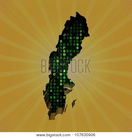 Sweden sunburst map with hex code illustration