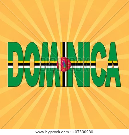 Dominica flag text with sunburst illustration