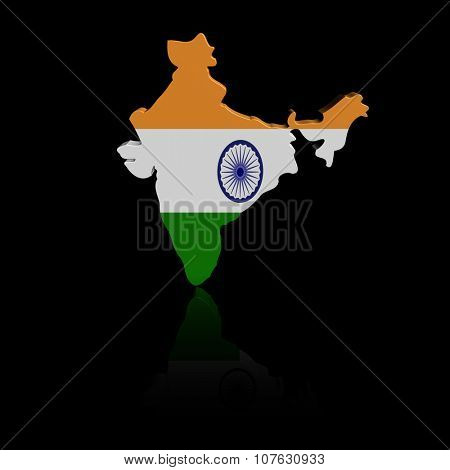 India map flag with reflection illustration