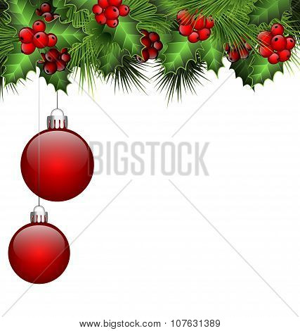 Holly And Fir With Christmas Balls On White