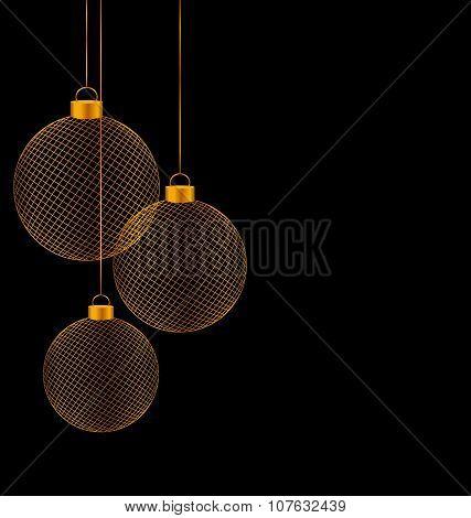 Christmas Balls Isolated On Black