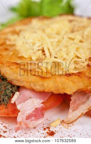 Roast pork  with vegetables and bakon