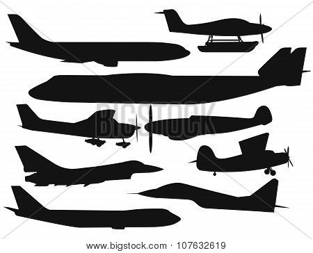 Civil aviation travel passanger air plane black vector silhouette