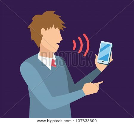Voice control vector illustration. Smart computer