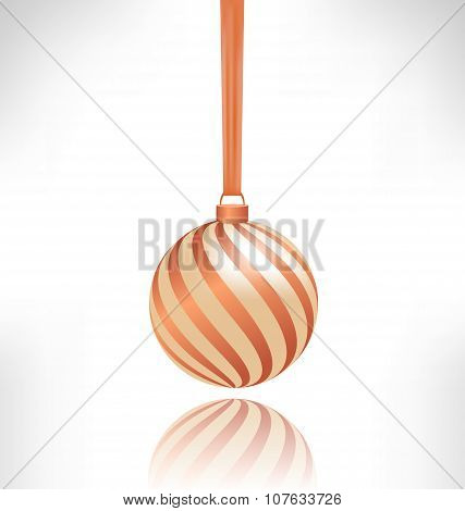 Spiral Christmas Ball With Reflection On Grayscale