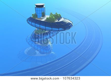 Roads and modern house on a blue background.