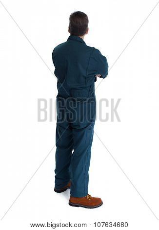 Back of plumber man. Isolated over white background.