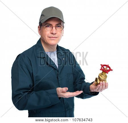 Plumber with water tap. Isolated white background.