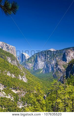 Beautiful Mountains Shot From High Poing In Yosemite National Park In California. Hdr Image.