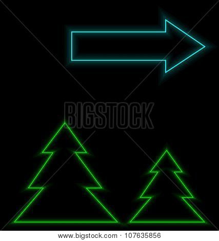 Self-illuminated Christmas Trees With Arrow