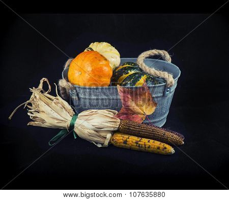 Abstract autumn harvest background with pumpkins and fall leaves over black background