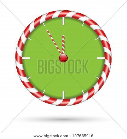 Candy Cane Clock  Isolated On White