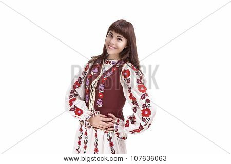 Caucasian Smiling Happy Brunette Woman Posing In National Flowery Hand-made Unique Dress. Isolated O