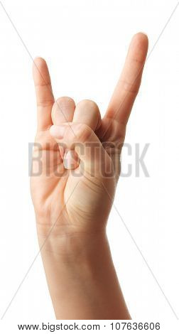 Woman Hands gestures on over white background. Isolated.
