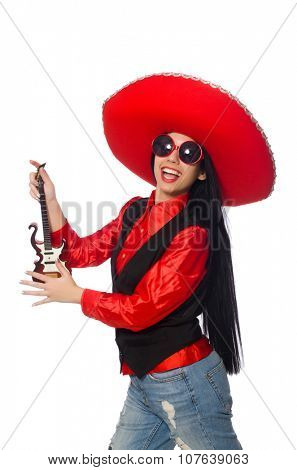 Mexican woman in funny concept on white