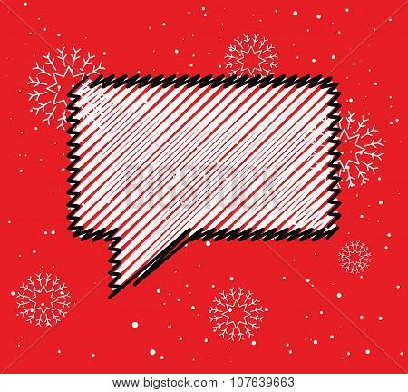 Sale doodle blank speech bubble box. Winter season price reducing icon for advert.