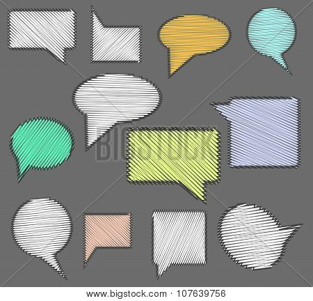 Set of speech bubble icons with scribble hand drawn effect.