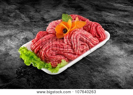 Fresh Raw Beef Minced Meat Decorated With Vegetables And Clipping Path