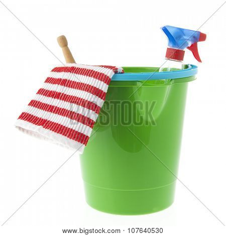 Green bucket with cleaning equipment isolated over white background