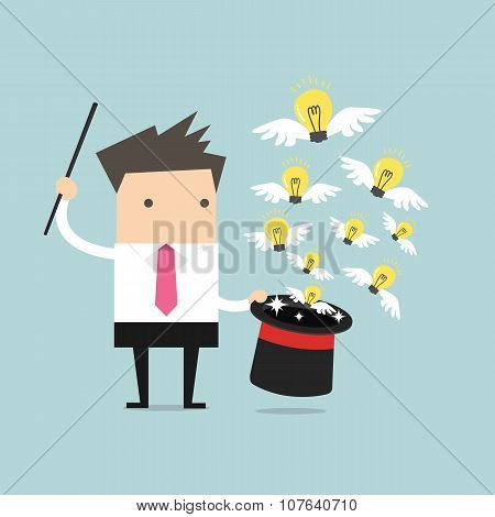Businessman with Magic Hat Full of Light Bulbs (Ideas)
