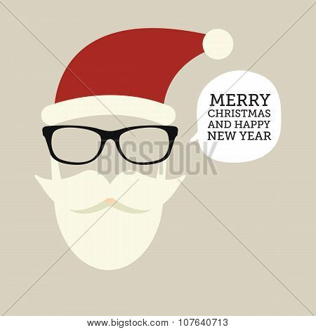 hipster-santa silhouette with santa hat, aviator sunglasses and beard