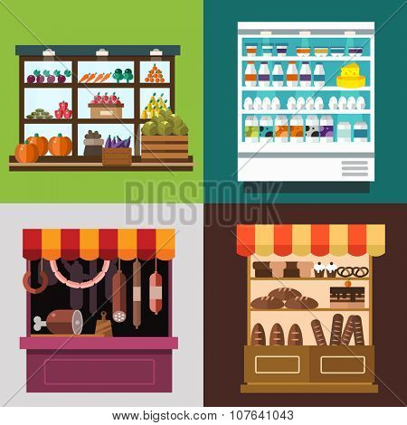 Fruit, vegetables, milk products, meat, bakery shop stall vector set. Fruit and vegetables market view. Milk products on shop stall. Meat shop vector illustration. Food supermarket, food shop, food