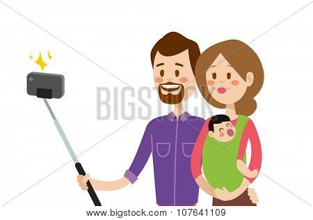 Selfie family portreit vector illustration. Selfie shot man, woman, small kid. Vector selfie people set. Selfie vector concept modern family with selfie photo camera. Family smile, family concept
