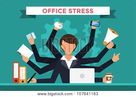 Office job stress work vector illustration. Stress on work. Business woman day. Office life business girl. Business situation. People in action. Computer, table, many hands, work. Office vector people