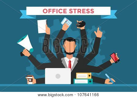 Office job stress work vector illustration. Stress on work. Business man day. Office life business man. Business situation. People in action. Computer, table, many hands, work. Office vector people