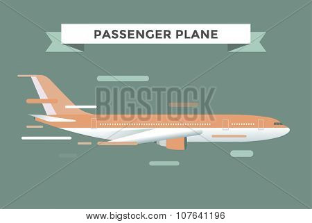 Civil aviation travel passanger air plane vector illustration. Civil commercial airplane flying vector silhouette. Travel plane isolated on background. Cargo transportation airplane vector isolated