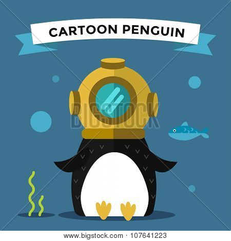 Cartoon penguin character vector illustration. Cartoon funny penguin diver or underwater. Penguin diver, scuba, sea diver hat, diver penguin. Cartoon penguin vector illustration. Penguin vector